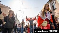 نمایی از تظاهرات روز یکشنبه در پایتخت بلاروس