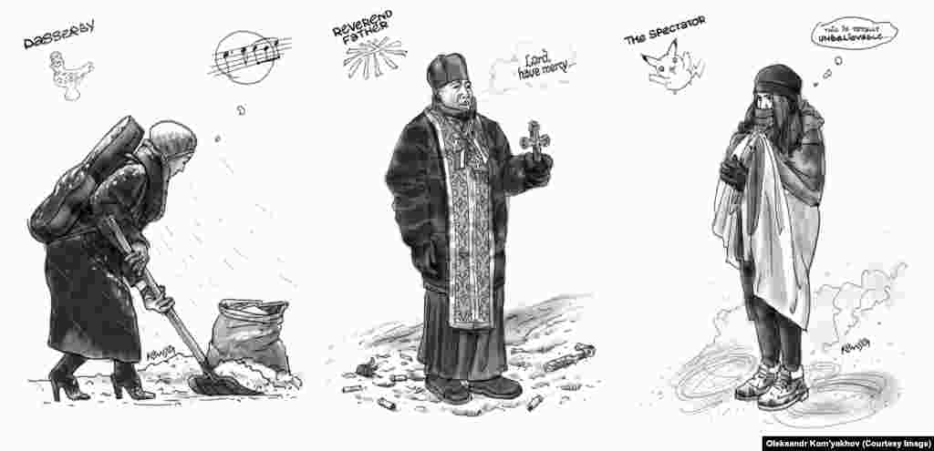 A musician stops to shovel snow onto the barricades while passing by the square; a priest solemnly prays for God to have mercy on the protesters; and a teenage girl, bundled against the cold, expresses amazement as she gazes at the protests.