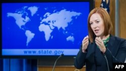 U.S. -- US State Department spokesperson Jen Psaki conducts her daily briefing for reporters at the State Department in Washington, June 16, 2014