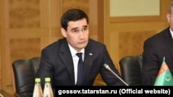 Türkmenistanyň prezidenti Gurbanguly Berdimuhamedowyň ogly Serdar Berdimuhamedow. Arhiwden alnan surat. Turkmenistan. Son of President Serdar Berdimuhammedov meets with Tatar Officials