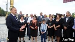 Azerbaijan -- President Ilham Aliyev meets residents of Yevlakh district, 07Oct2012