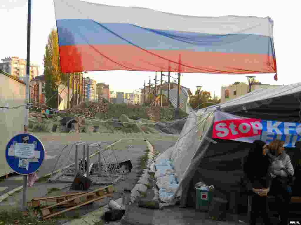 Srbi na barikadama u centru Mitrovice, 31.10.2011. Foto: RSE / Jasmina Šćekić
