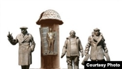 Памятник героям фильма «Мимино» можно было видеть на протяжении всего дня, благо установили его еще утром