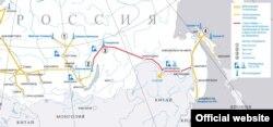 """""""Сібір күші"""" газ құбырының """"Газпром"""" сайтындағы картасы."""