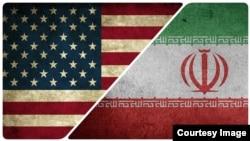 د امریکا او ایران بیرقونه.