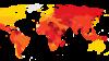 Transparency International ұйымының 2014 жылғы жемқорлық рейтингісін әлем картасы арқылы суреттеуі. Сары түс - жемқорлық деңгейі төмен, қызыл түс - жемқорлық деңгейі жоғары елдің сипаттамасы.
