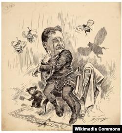 "Two Bees or Not Two Bees – That is the Question! Карикатура Клиффорда Бэрримана. Тедди Рузвельт в образе Гамлета, решающего вопрос, избираться или нет на третий срок. Игра слов: to be – two bees (""две пчелы""). Каждая из трех пчел символизирует один президентский срок"