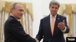 U.S. Secretary of State John Kerry (right) met immediately for talks with Russian President Vladimir Putin (left) upon his arrival in Moscow.