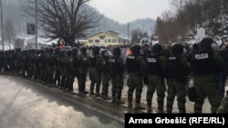 Police face off with war veterans near the city of Doboj in Bosnia-Herzegovina.
