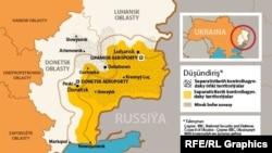 Ukrainadaky konfliktiň kartasy.