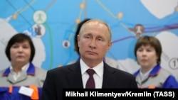 Президент Росії Володимир Путін під час церемонії запуску Балаклавської та Таврійської теплоелектростанцій в окупованому Криму, Севастополь, 18 березня 2019 року