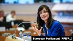 Четвъртият кандидат за еврокомисар от България Мария Габриел на устно изслушване в Европейския парламент за ресора Цифрова икономика и общество през юни 2017 г.