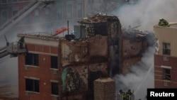 Pamje e ndërtesës së shkatërruar nga eksplodimi i gazit në një hapësirë në Nju Jork