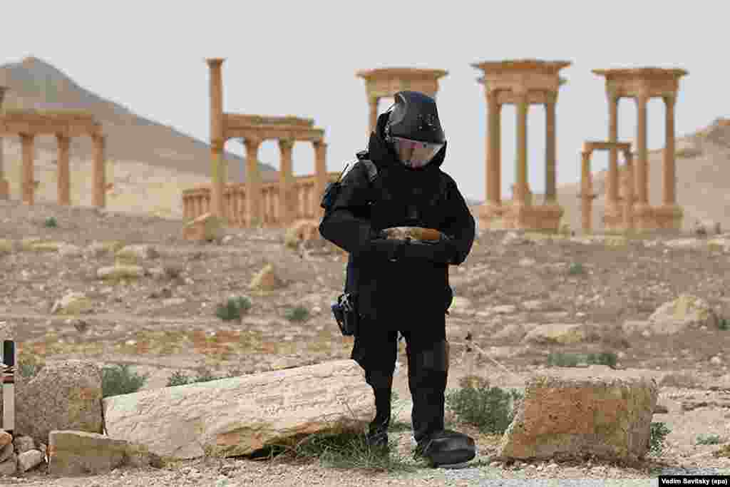 A Russian army sapper searches for land mines in the ancient Syrian city of Palmyra on April 7. Syrian troops recaptured Palmyra from Islamic State fighters on March 27, but the militants retook part of the city in mid-December. (epa/Vadim Savitsky)