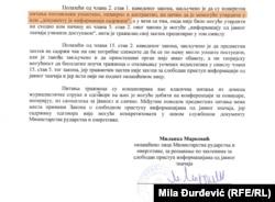 Odgovor Ministarstva rudarstva i energetike na upit RSE (20. april 2018.)