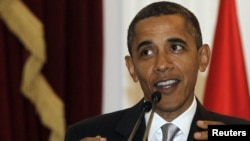 "U.S. President Barack Obama: ""Never waver."""