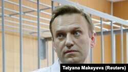 Russian opposition leader Aleksei Navalny at his trial in May for organizing an unauthorized protest.