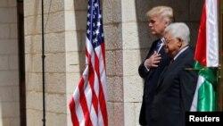 محمود عباس و دونالد ترامپ در دیداری که ماه مه سال ۲۰۱۷ در بیتلحم داشتند