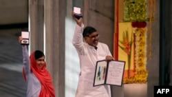 Малала Юсафзай і Кайлаш Сатьяртхі отримали Нобелівську премію миру, Осло, 10 грудня 2014 року