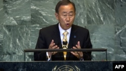Генеральный секретарь ООН Пан Ги Мун открывает 66-ю сессию Генассамблеи