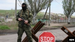 Блокпост української армії у Виноградові, поблизу Маріуполя, березень 2015 року
