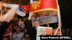 Slike ruskog predsjednika Vladimira Putina na protestu Demokratskog fronta, Podgorica, 2015.