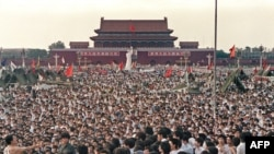 China -- Hundreds of thousands of protesters gather on Tiananmen Square in Beijing, 02Jun1989