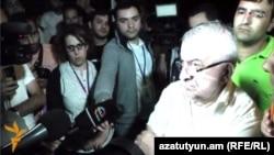 Armenia -- Republican MP Ashot Aghababian visits #ElectricYerevan protesters on Bagramian ave, Yerevan, 29Jun2015