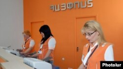 Armenia - Staff at a Haypost office in Yerevan.