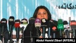 كورده عمر مديرة دائرة مكافحة العنف ضد المرأة في إقليم كردستان في مؤتمر صحفي بأربيل