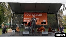 Выступление лидера ЧСДП Богуслава Соботки на предвыборном митинге