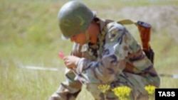 Armenian soldier in exercises under NATO's Partnership for Peace program in June 2003