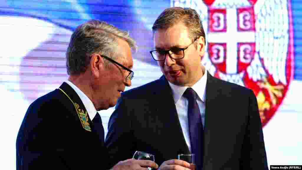 Odlazeći ruski ambasador Aleksandar Čepurin i predsednik Srbije Aleksandar Vučić