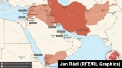Map of Iranian influence in Middle East
