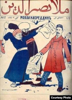"""Ruhanilər təhsildə islahat təklif edən İsmayıl bəy Qaspralıya qarşı (karikatura). """"Molla Nəsrəddin"""" jurnalı, 1906"""