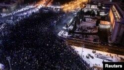 Ռումինիա - Բողոքի բազմամարդ ցույցը կառավարության շենքի դիմաց, Բուխարեստ, 29-ը հունվարի, 2017թ․
