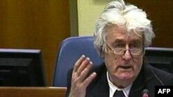 A TV grab shows Bosnian Serb wartime leader Radovan Karadzic talking during his trial for genocide, in the Hague.