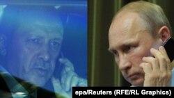 Эрдўғон ва Путин телефон орақли суҳбатлашмоқда.