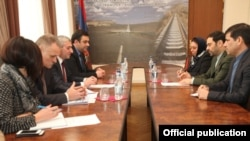 Armenia - Armenian Transport Minister Vahan Martirosian meets with Iranian Ambassador Seyyed Kazem Sajjad in Yerevan, 19Jan2017.