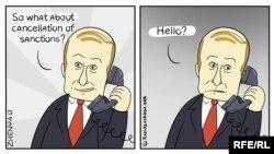 Karikatura o telefonskom razgovoru Donalda Trumpa i Vladimira Putina u kojoj Putin ostaje bez odgovora na pitanje: 'I šta sa ukidanjem sankcija?'