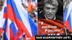 Opposition supporters marched in memory of murdered Kremlin critic Boris Nemtsov in central Moscow on February 24.