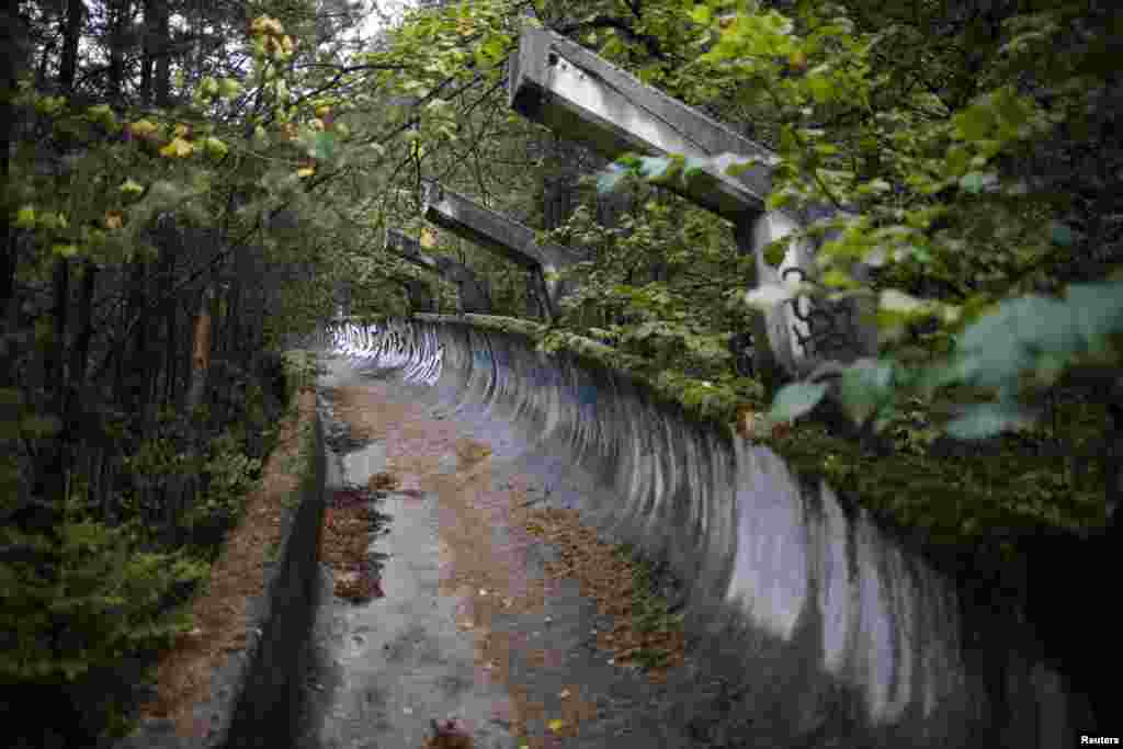The disused bobsled track on Mount Trebevic, near Sarajevo