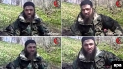 A combo photo of Chechen rebel leader Doku Umarov during his video statement claiming responsibility for the March 29 Moscow metro bombings