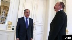 Ռուսաստանի արտգործնախարար Սերգեյ Լավրովը և Ադրբեջանի նախագահ Իլհամ Ալիևը: Բաքու, 12-ը հուլիսի, 2016թ.