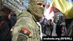 La un protest în fața ambasadei belaruse de la Kiev împotriva recrutării de mercenari