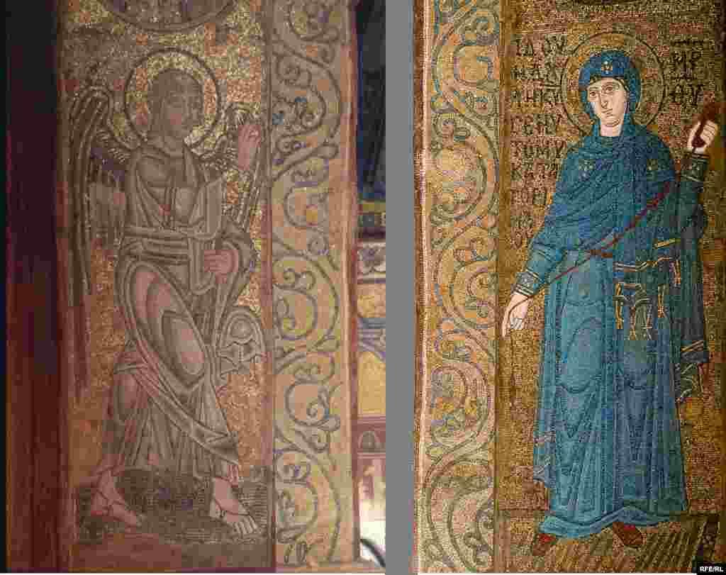 Архангел Гавриїл. Благовіщення: мозаїка ХІ ст.; Марія. Благовіщення: мозаїка ХІ ст.