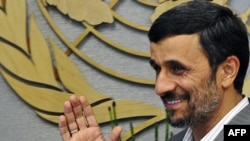 "Mahmud Ahmadinejad arrives at the United Nations in New York. Iran's president said the United States should make a humanitarian gesture by releasing eight Iranians he said were ""illegally detained."""