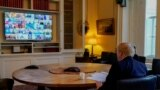 Premijer Velike Britanije Boris Džonson na video konferenciji G20, 26. mart 2020.