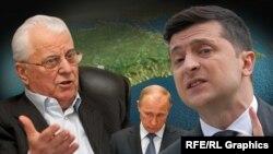 Leonid Kravçuk, Vladimir Putin ve Volodımır Zelenskıy Qırım haritasınıñ fonunda. Kollaj