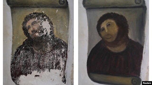 نقاشی عیسی مسیح پیش از ترمیم (چپ) و پس از ترمیم